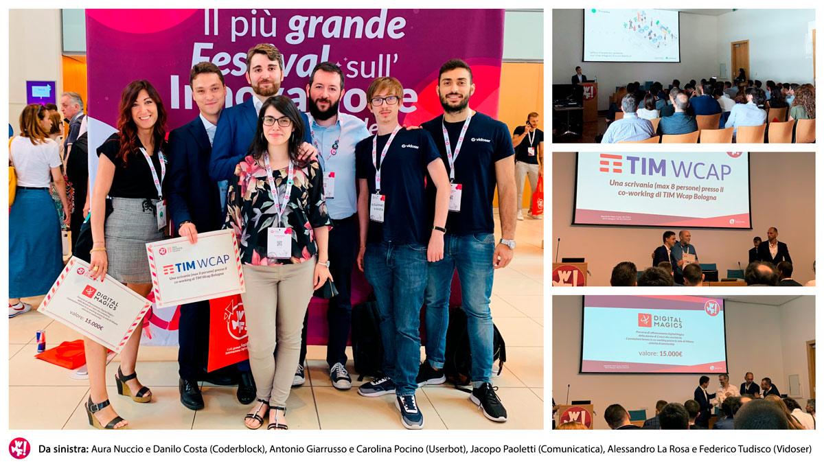 Da sinistra: Aura Nuccio e Danilo Costa (Coderblock), Antonio Giarrusso e Carolina Pocino (Userbot), Jacopo Paoletti (Comunicatica), Alessandro La Rosa e Federico Tudisco (Vidoser)